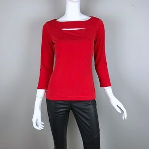 {Carmen Marc Valvo} Red Keyhole Open-Front Top